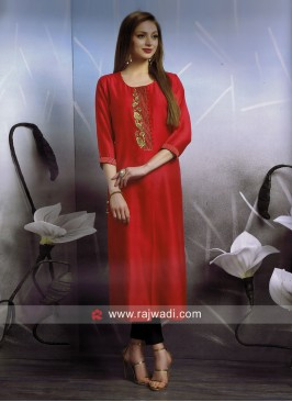 Cotton Silk Red Kurti with Front Slit