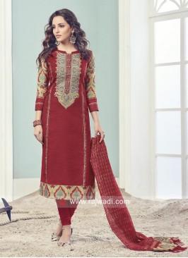 Cotton Silk Red Salwar Kameez