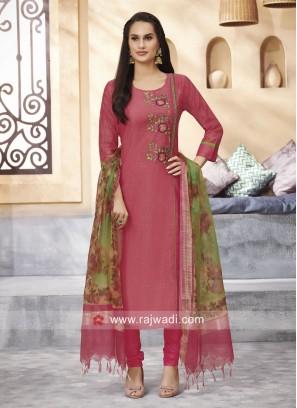 Cotton Silk Resham and Zari Work Suit