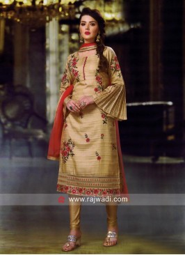 Cotton Silk Resham Work Churidar Suit