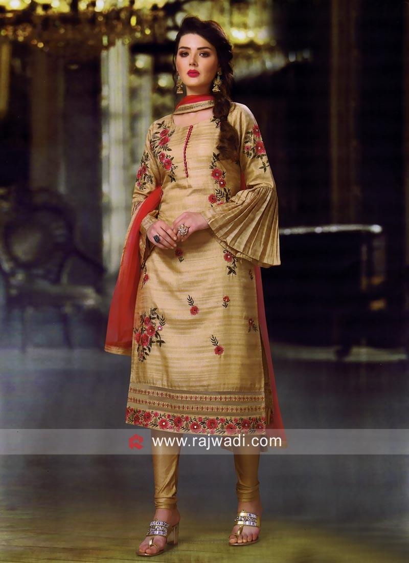 Cotton Silk Resham Work Churidar Suit