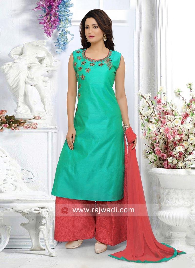 Cotton Silk Resham Work Palazzo Suit