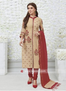 Cotton Silk Resham Work Salwar Kameez