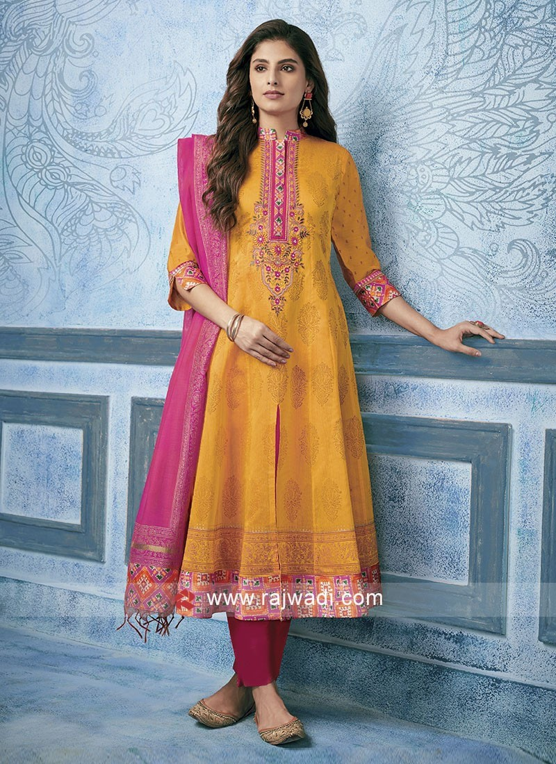 Cotton Silk Resham Work Salwar Kameez