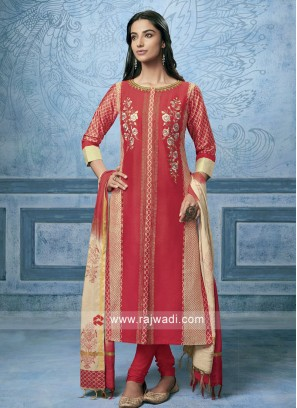Shagufta Cotton Silk Resham Work Salwar Suit