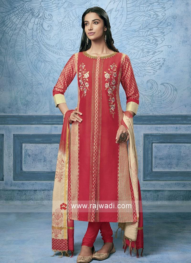 Shagufta Cotton Silk Resham Work Salwar Suit