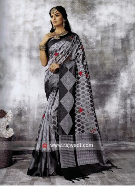 Cotton Silk Resham Work Saree
