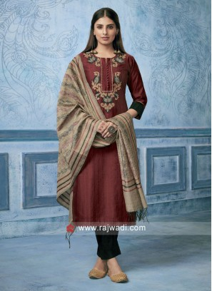 Shagufta Cotton Silk Resham Work Trouser Salwar Suit