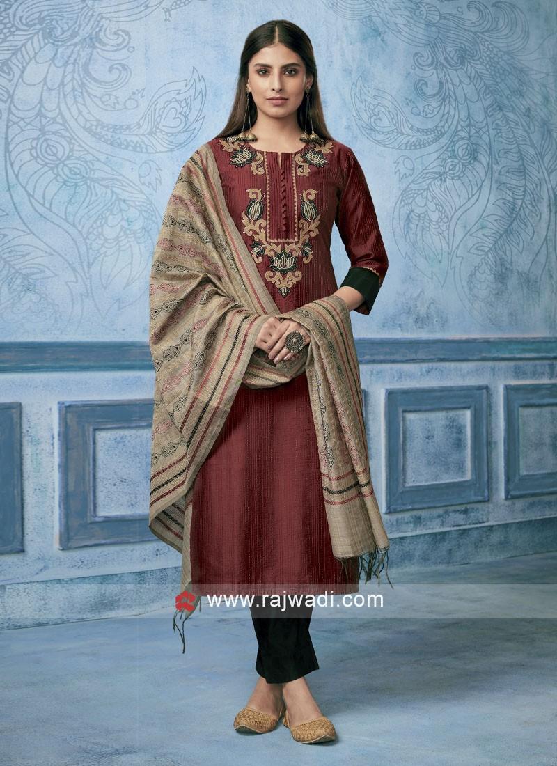Shagufta Cotton Silk Resham Work Trouser Salwar Suit