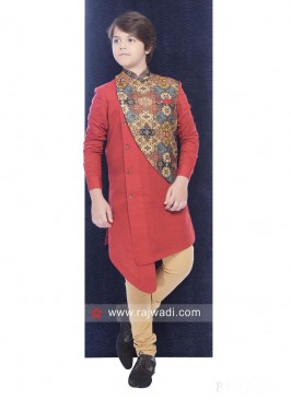 Cotton Silk Red Color Indo western