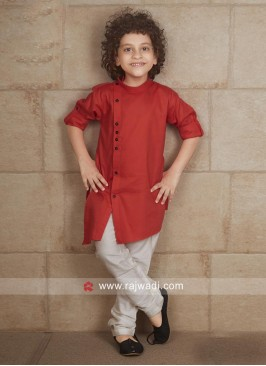 Cotton Silk Red Pathani Suit