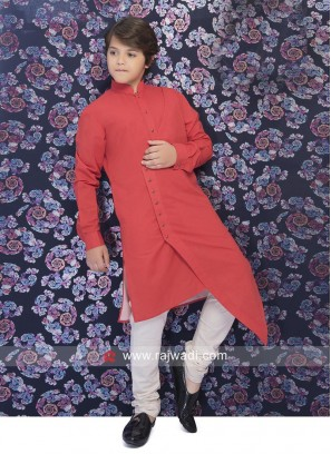 Cotton Silk Rust Pathani Suit
