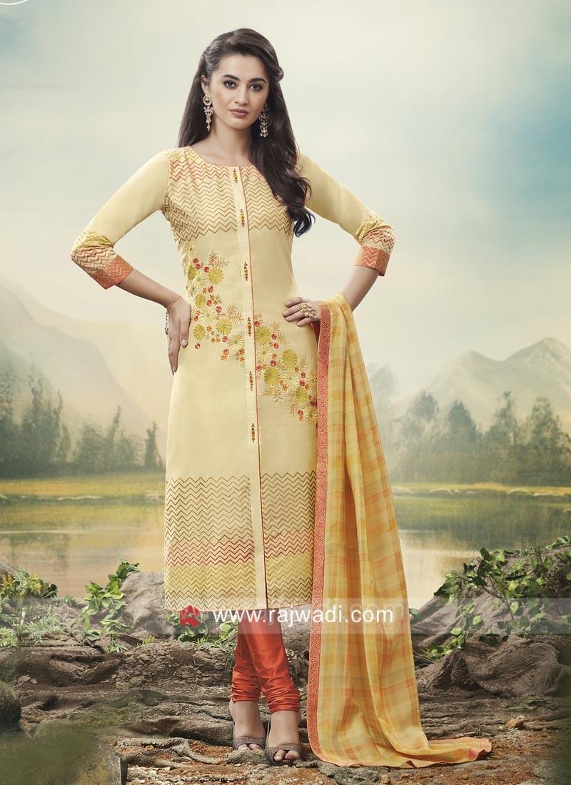 Cotton Silk Salwar Kameez in Cream