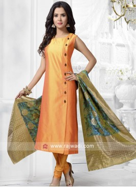 Cotton Silk Salwar Kameez in Golden Yellow