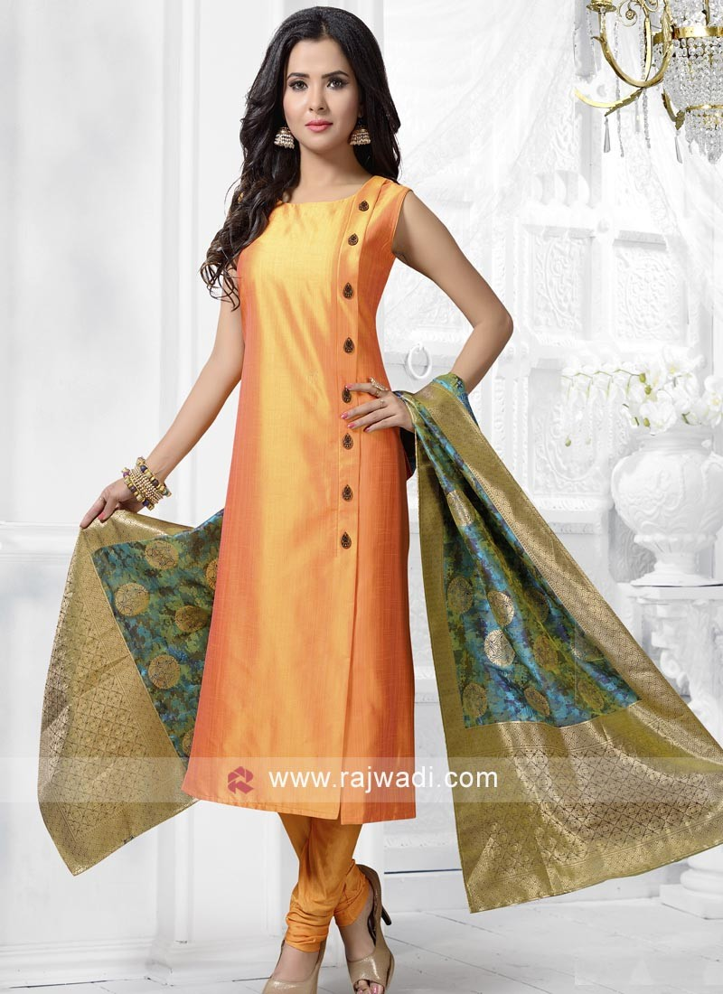 Cotton Silk Salwar Kameez in Golden Yellow