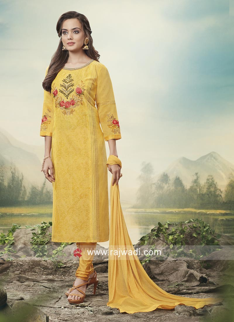 Cotton Silk Salwar Kameez in Yellow