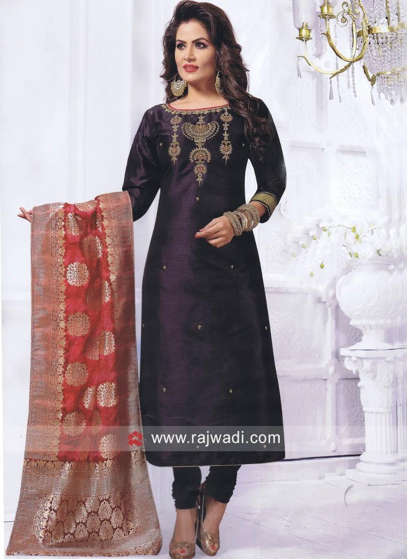 Cotton Silk Salwar Suit in Black