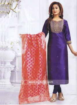 Cotton Silk Salwar Suit in Blue