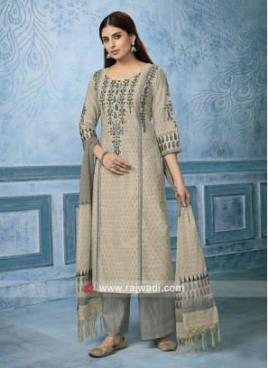 Cotton silk Salwar Suit in Cream