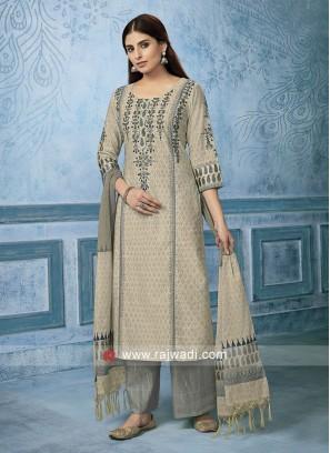 Cotton silk Salwar Suit in Cream