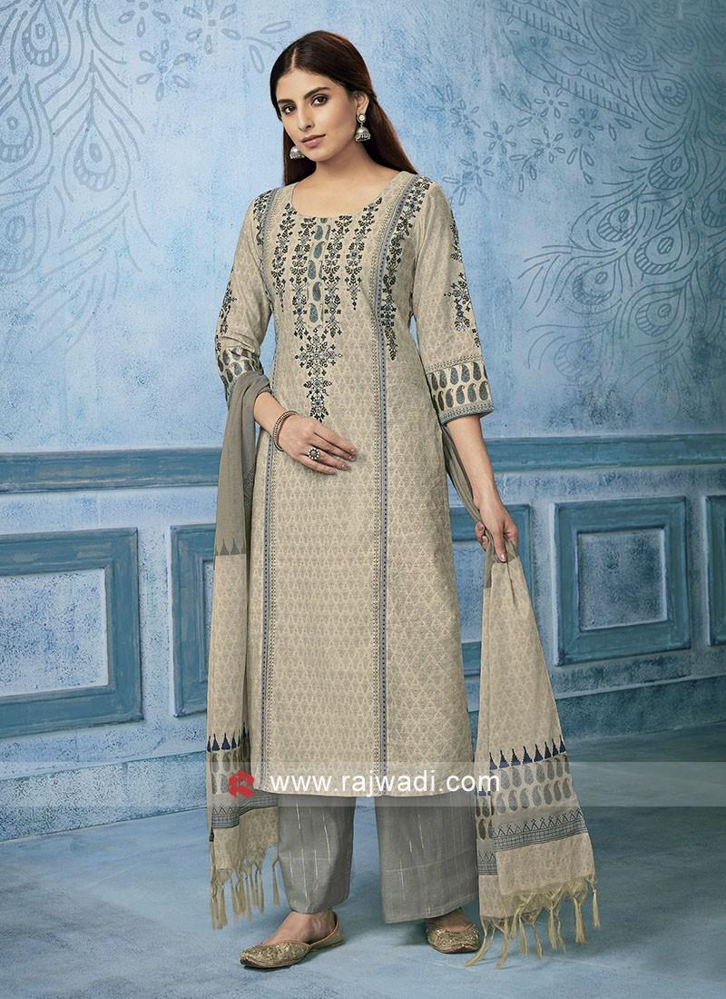 Shagufta Cotton silk Salwar Suit in Cream