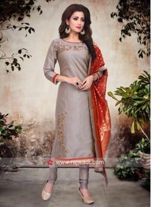 Cotton Silk Salwar Suit in Grey