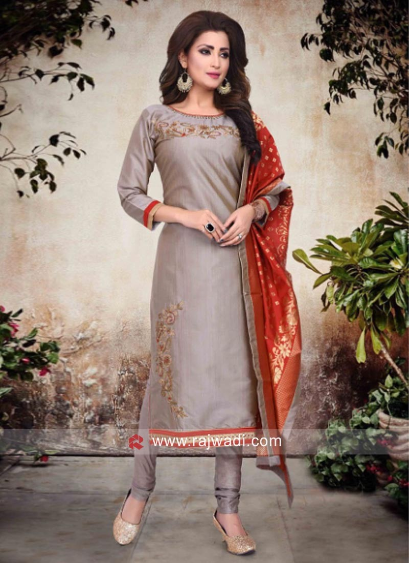 Cotton Silk Salwar Suit in Grey