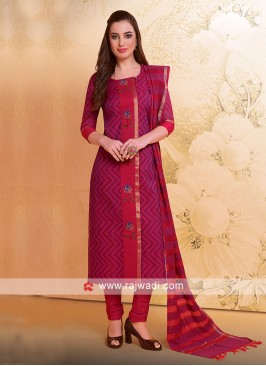 Cotton Silk Salwar Suit in Magenta
