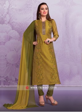 Cotton Silk Salwar Suit In Mehndi Green