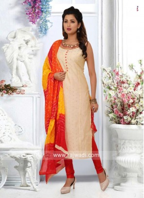 Cotton Silk Salwar Suit with Bandhani Dupatta