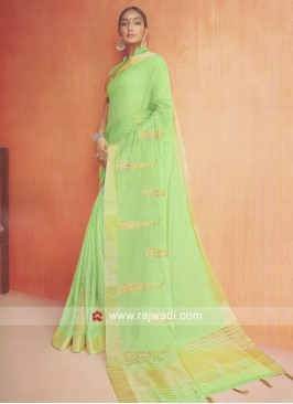 Cotton Silk Saree in Pista Green