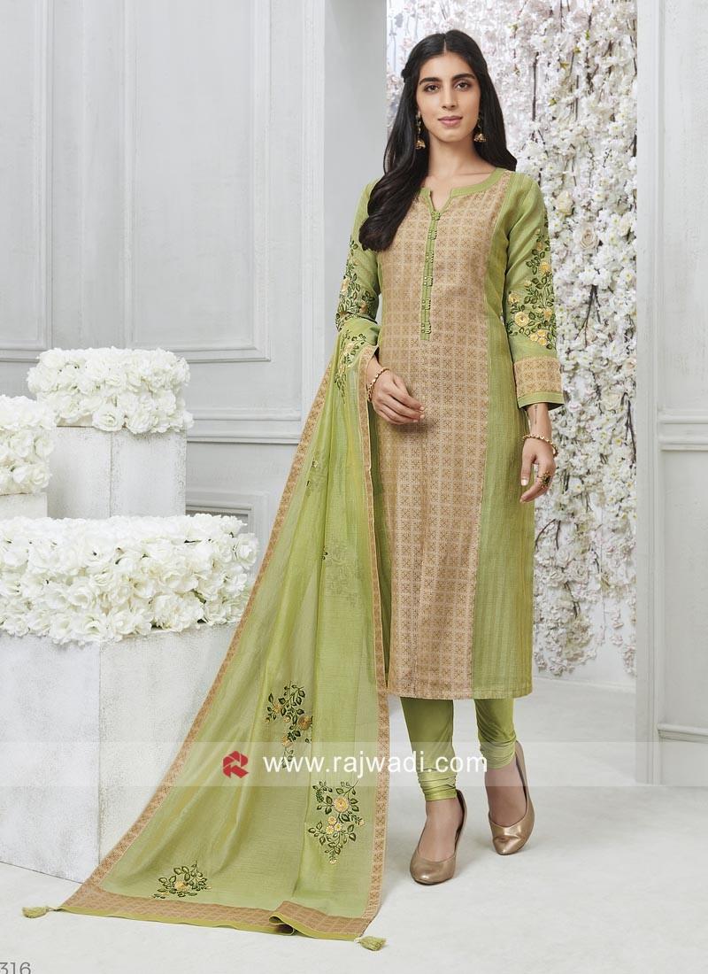 Cotton Silk Self Printed Salwar Kameez