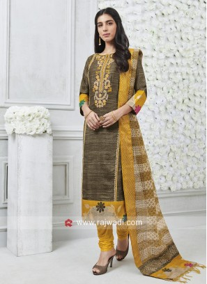 Cotton Silk Self Printed Salwar Suit
