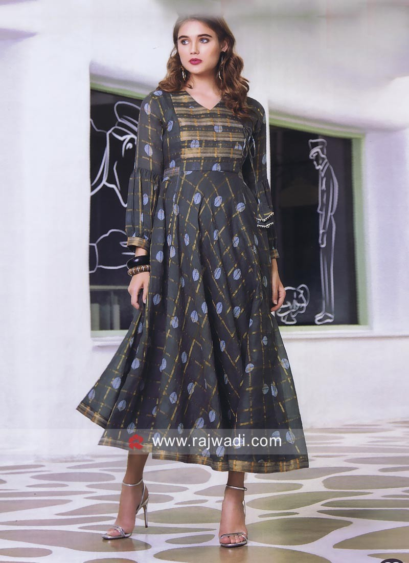 Cotton Silk Semi Anarkali Kurti