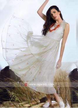 Cotton Silk Semi Anarkali Kurti