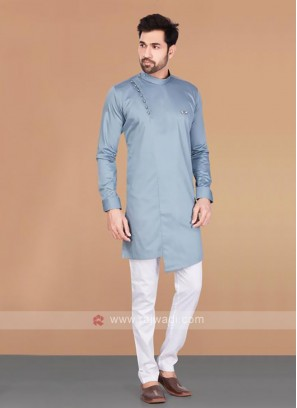 Cotton Silk Slate Blue Kurta
