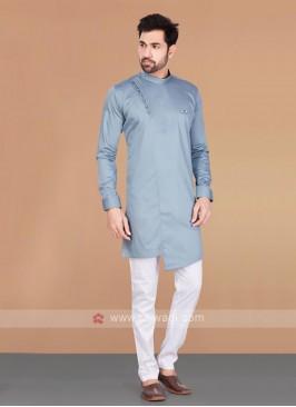 Slate Blue & White Cotton Silk Kurta Pajama