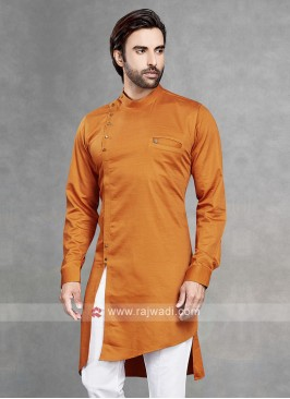Cotton Silk Solid Orange Kurta