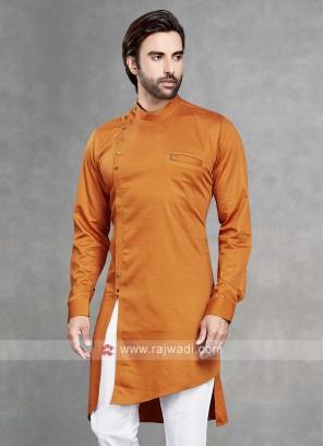 Cotton Silk Solid Orange Kurta
