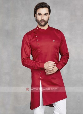 Cotton Silk Solid Red Kurta
