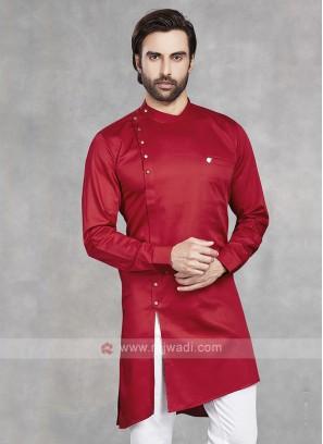 Cotton Silk Solid Red Kurta