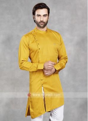 Cotton Silk Solid Yellow Kurta