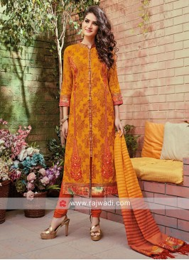 Cotton Silk Stand Neck Slit Churidar Set