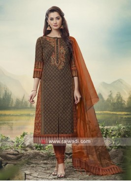 Cotton Silk Stone Work Suit with Dupatta