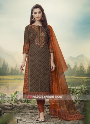 Cotton Silk Stone Work Suit with Dupatta
