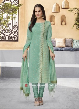 Cotton Silk Straight Fit Churidar Suit