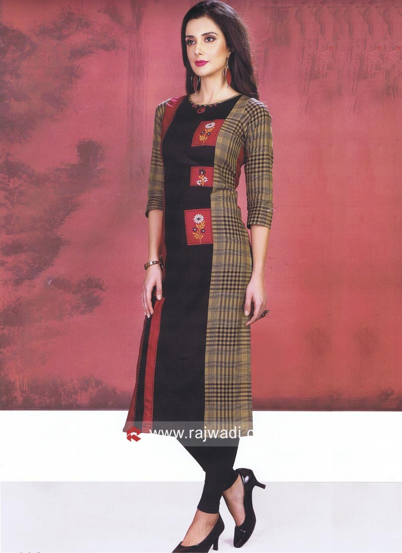 Cotton Silk Straight Fit Kurti with Sleeves