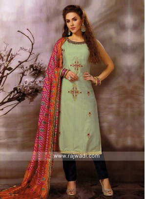 Cotton Silk Straight Fit Pant Style Suit