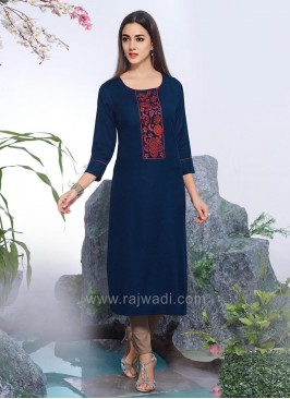Cotton Silk Straight Kurti with Thread Work
