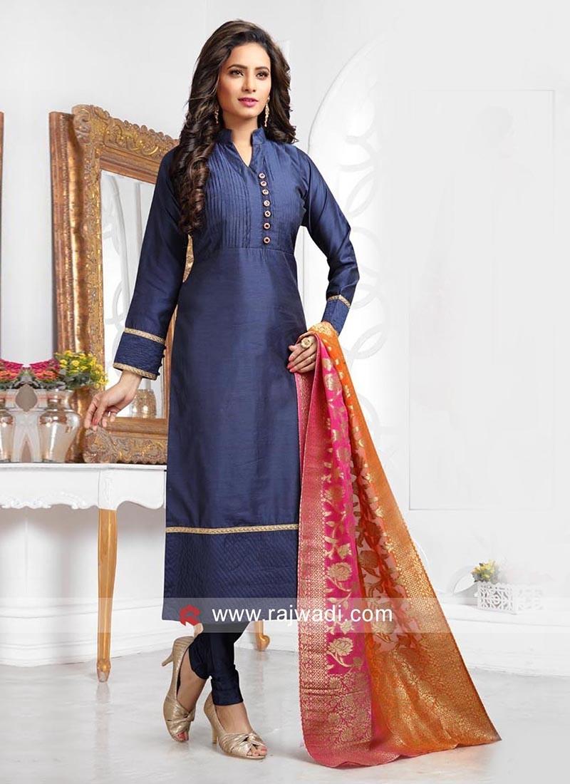 Cotton Silk Straight Salwar Kameez